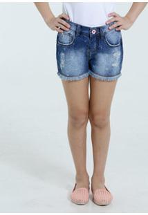 Short Infantil Jeans Puídos Barra Desfiada Marisa