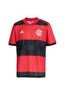 Camisa Flamengo Juvenil I 21/22 S/N° Torcedor Adidas - Vermelho+Preto Gg0995