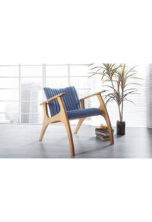 Poltrona Design De Madeira Estofada Azul Claro Smith Metalassê - Verniz Amendoa \ Tec.930 - 69X83X74 Cm
