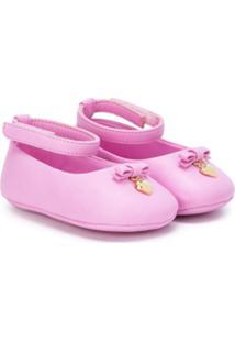 Dolce & Gabbana Kids Sapatilha De Couro Com Aplicação - Rosa