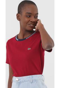 Camiseta Lacoste Frisos Vermelha - Vermelho - Feminino - Algodã£O - Dafiti