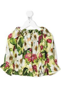 Dolce & Gabbana Kids Blusa Com Estampa Floral - Amarelo