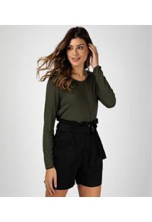 Camiseta Liz Easywear Manga Longa Feminino - Feminino-Verde Militar