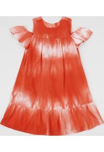 Vestido Infantil Ciganinha Estampado Tie Dye Manga Curta Com Vazado Laranja