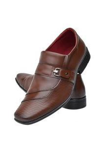 Sapato Social Masculino Textura Bico Quadrado Leve Macio Marrom 42 Marrom