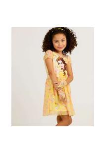 Vestido Infantil Bela Brinde Disney Tam 4 A 10