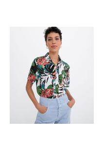 Camisa Manga Curta Estampa Folhagens | Marfinno | Branco | P