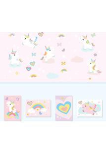Adesivo De Parede Unicornio E Placas Decorativas Kit Decoração