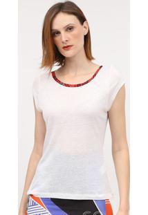 Camiseta Mescla Com Linho- Branca & Vermelha- Coca-Ccoca-Cola