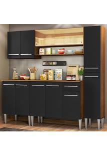 Cozinha Completa Madesa Emilly Sky Com Armário Vidro Reflex E Balcão - Rustic/Preto Marrom