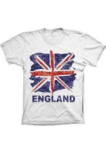 Camiseta Baby Look Lu Geek England Flag Branco