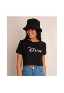 """Camiseta Cropped """"Disney"""" Manga Curta Decote Redondo Preta"""