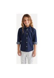 Camisa Mini Cont Ae Easy Oxford Denim Ml Casual Reserva Mini Azul