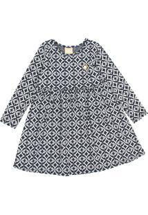 Vestido Milon Infantil Geométrico Azul-Marinho - Tricae
