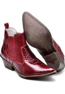 Bota Couro Country Top Franca Shoes Masculino - Masculino-Vermelho