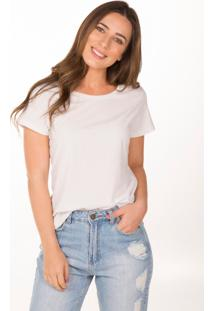 Camiseta Cora Decote Redondo Em Algodão Orgânico Branca