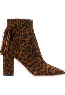 Aquazzura Ankle Boot Animal Print - Marrom