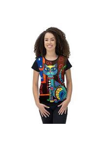 Camiseta Ramavi Feminina Delicate Cat Preto Preto Gg