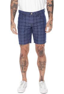 Bermuda Jeans Colcci Reta Xadrez Azul