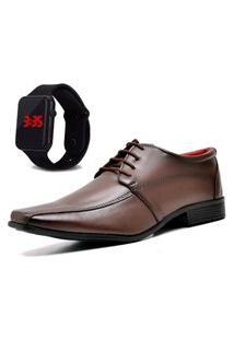 Sapato Social Com Relógio Dubuy 804Mr Marrom