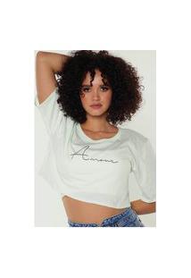 Camiseta Cropped Feminina Under79 Verde Claro Frases