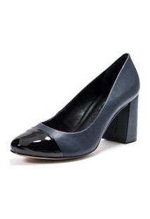 Sapato Salto Medio Cap Toe Anil