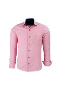 Camisa Amil Insert Manga Longa Luxuosa Rosa Bebe