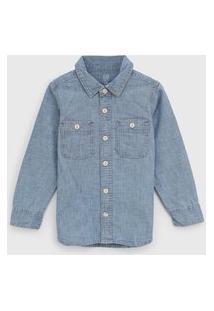 Camisa Jeans Gap Infantil Bolsos Azul