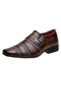 Sapato Social Masculino Bico Quadrado Liso Metal Clássico Marrom 38 Marrom