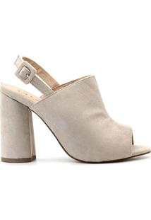 Sandália Royalz Nobuck Ankle Boot Salto Nara Feminina - Feminino-Bege