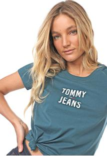 Camiseta Tommy Jeans Square Logo Verde