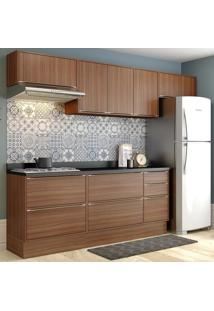 Cozinha Compacta Calábria 8 Portas Com Tampo E Rodape Nogueira/Malt - Multimóveis