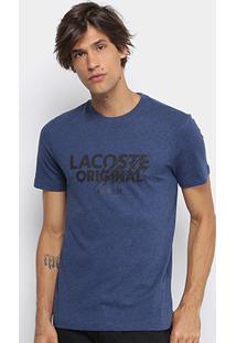 c61859766bd0c Camiseta Lacoste Gola Careca Mesclada Original Masculina - Masculino-Azul