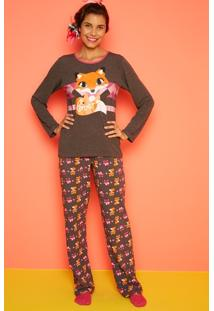 Pijama Manga Longa Raposa Adulto