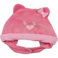 a03b8d5a482b1 Touca Bebê Ano Zero Gatinha Com Lacinho Feminina - Feminino-Rosa Escuro
