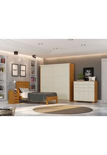 Dormitório Solteiro Bianca Nature Off White Madeirado Robel Móveis