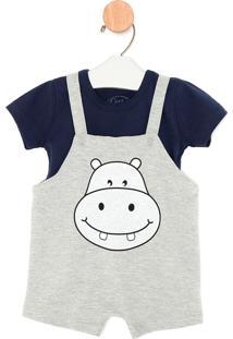 Conjunto Infantil All Kids Camiseta E Jardineira De Moletinho Menino Safari