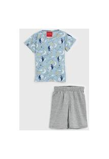 Pijama Tricae Curto Infantil Urso Azul/Cinza