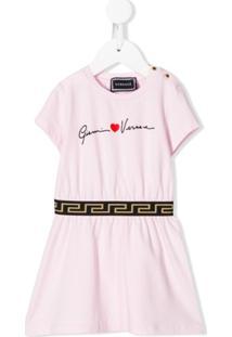 Young Versace Vestido Cintura Baixa - Rosa