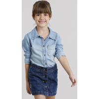 b245f0fc4 Camisa Jeans Infantil Com Bolsos Azul Médio