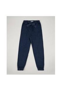 Calça Jeans Juvenil Jogger Com Bolsos Azul Médio
