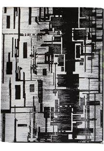 Tapete Andino Abstrato Iv Retangular Polipropileno (50X80) Preto