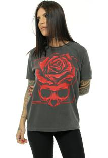 Camiseta Bossa Brasil Red Skull Preto Estonado - Grafite - Feminino - Algodã£O - Dafiti