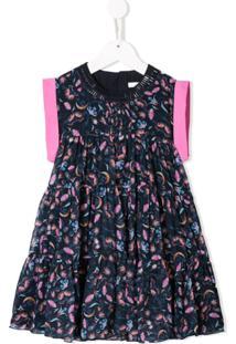 Chloé Kids Vestido Com Estampa Floral - Azul