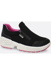 Tênis Feminino Chunky Sneaker Nobuck Zíper Quiz