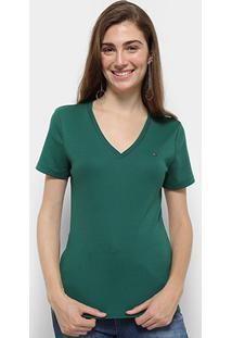 Camiseta Tommy Hilfiger Im A Cody Round Top Feminina - Feminino-Verde Militar