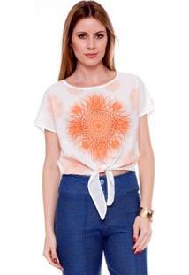 Camiseta Bisô Mandala Renda Feminina - Feminino-Off White