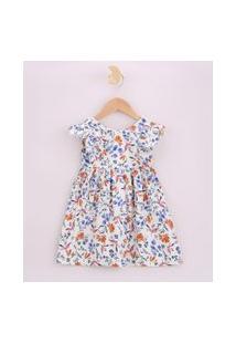 Vestido Infantil Estampado Floral Com Babados Manga Curta Off White