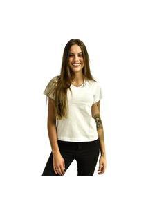 Camiseta Nakia Gola V Básica Feminina Lisa Malha Manga Curta Branca
