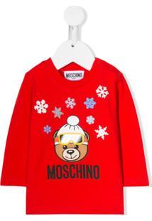 Moschino Kids Blusa Com Estampa De Logo - Vermelho